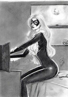 "Black Cat (09""x12"") original and unique 1/1 comic art by Lina Lima"