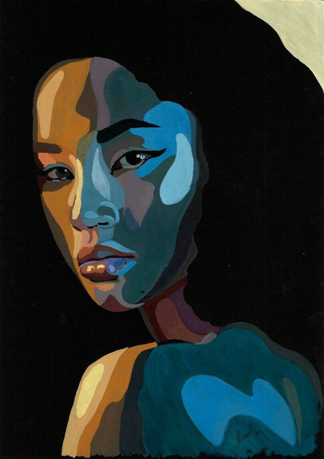 Original Drawing A4 40BJ Art Samovar Mixed Media Modern Female Portrait 2020 - $1.25