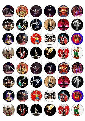 48 MINI CIRCUS CUPCAKE TOPPER WAFER RICE EDIBLE FAIRY CAKE  TOPPERS