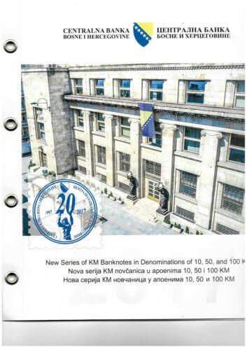 Bosnia 2017 complete set, 10, 50 and 100KM banknotes, overprint SPECIMEN, UNC