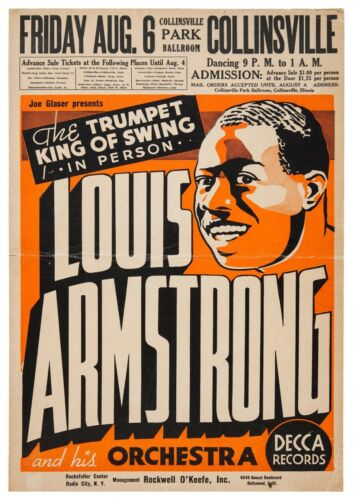 "Reproduction Jazz Poster, ""Louis Armstrong"", Home Wall Art, Size A2"
