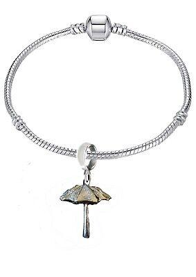 Parasol Umbrella 2.2x2.5cm ft110 on a silver Rhodium Plated Snake Bracelet