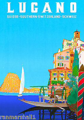 Lugano Switzerland Italy Italian Swiss European Travel Advertisement Poster