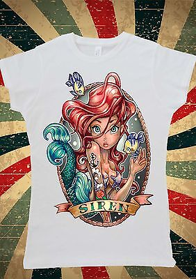 Disney Princess Ariel Little Mermaid Tattoo Women T-Shirt Vest Tank Top W137