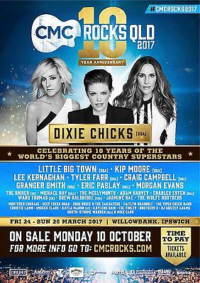 "DIXIE CHICKS/LITTLE BIG TOWN ""CMC ROCKS QLD 2017"" AUSTRALIAN CONCERT TOUR POSTER"