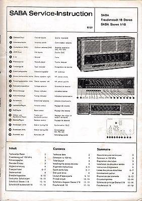 Service Manual-Anleitung für Saba Freudenstadt 18 Stereo