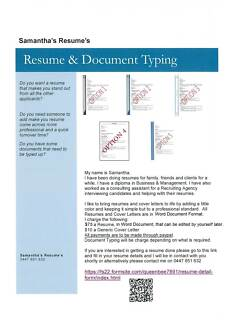 Samantha's Resume's & Document Typing West Perth Perth City Preview