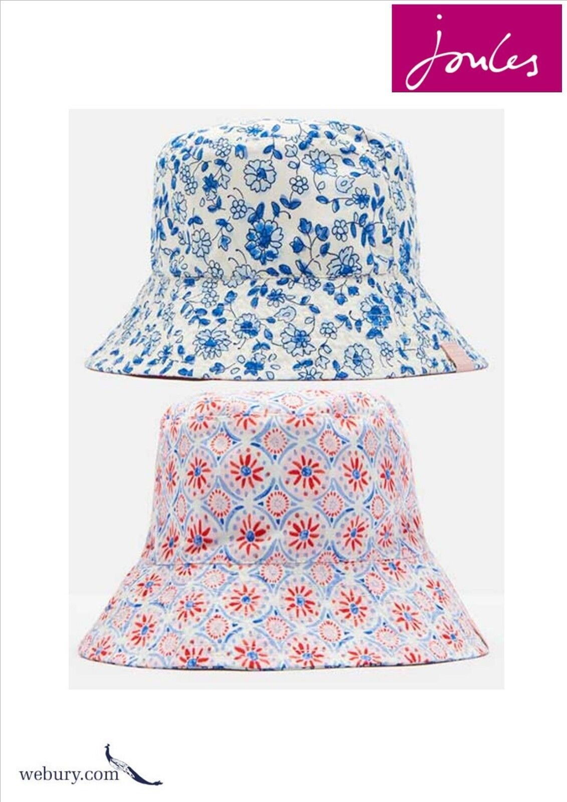 2aff1a7e1 Joules Folkestone Ditsy Sunseeker Reversible Girls Sun Hat Size 4-7 years