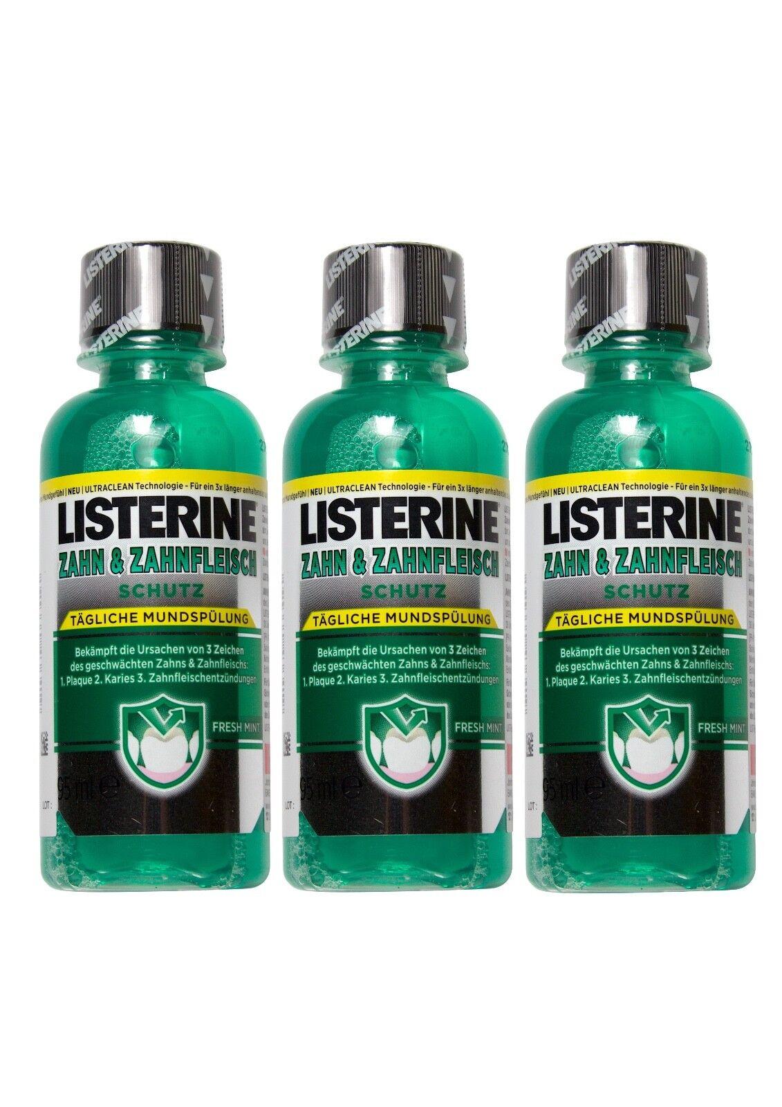 3x Listerine Zahn & Zahnfleischschutz Lösung 95ml PZN 9013346 Probier Reisegröße