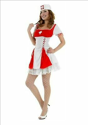 Red Sexy Nurse Fancy Dress Costume Hen Outfit Size M 12 - 14  - Red Nurse Outfit