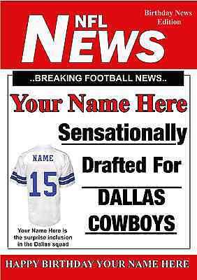 A5 Personalised Dallas Cowboys NFL American Football Birthday Card PIDOA1](Dallas Cowboys Birthday Card)