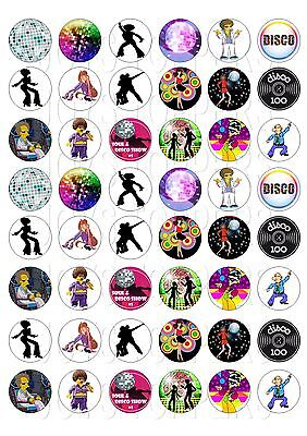 48 MINI DISCO CUPCAKE TOPPERS ICED ICING FAIRY CAKE BUN TOPPERS
