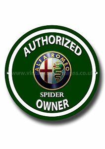 ALFA-ROMEO-Spider-Autorizado-ALFA-ROMEO-Spider-Amo-Redondo-Letrero-Metal