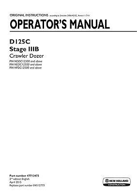 New Holland D125c Stage Iiib Crawler Dozer Operators Manual