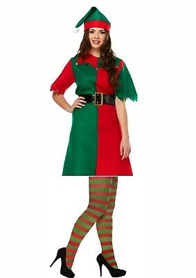 Female Womans Elf Costume Christmas Fancy Dress With Stockings Santa's Helper DJ ()