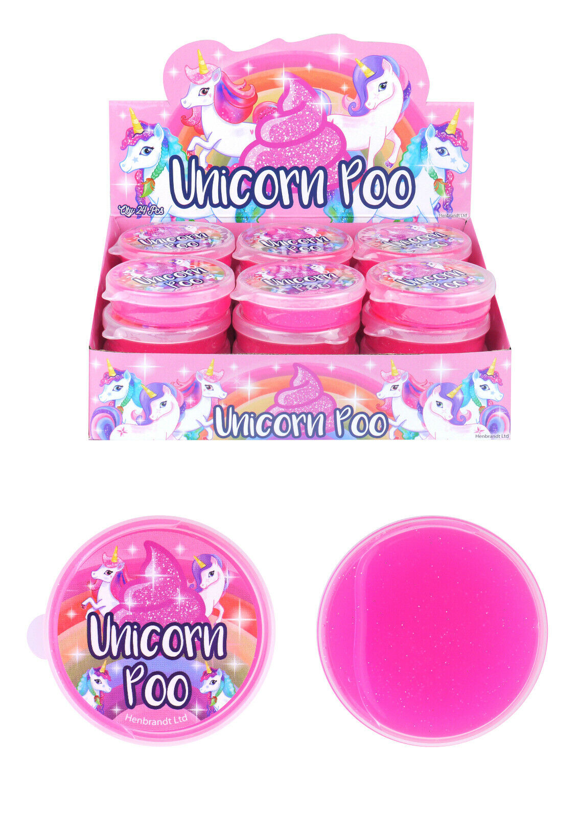 MAGIC UNICORN POO TUBS Kids Glitter Putty Birthday Party Bag Filler Gift Toy UK