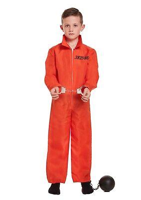 KIDS PRISONER ORANGE JUMPSUIT WORLD BOOK WEEK FANCY DRESS SIZE 4-12 YEARS