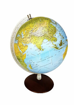 Light Globe Double Image Earth with Wooden Base and Metal Meridian 30cm LED