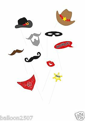 10 Wild Western Photo Booth Props Birthday Party decorations sticks cowboy hat