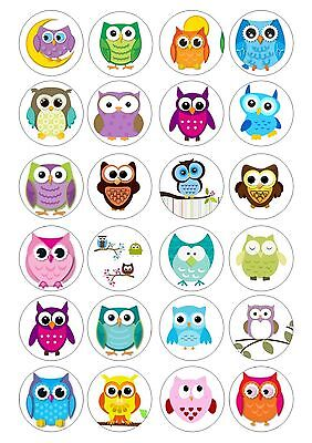 24 Owl  Owls Cupcake Topper  Wafer / RIce Paper Edible Fairy Cake Bun Toppers - Owl Cupcake Papers