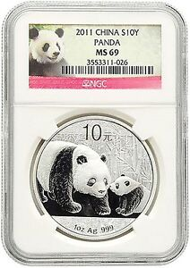 2011 China Silver Panda S10Y Yuan .999 Fine Pure Silver 1oz Ounce Gem NGC MS69