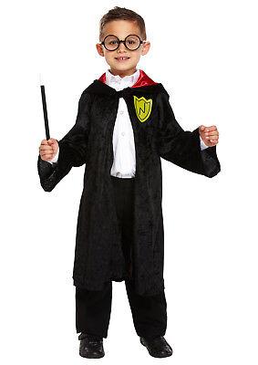 r Kostüm Zauberer Robe Schwarz samt Kinder (Kinder Schwarze Robe)