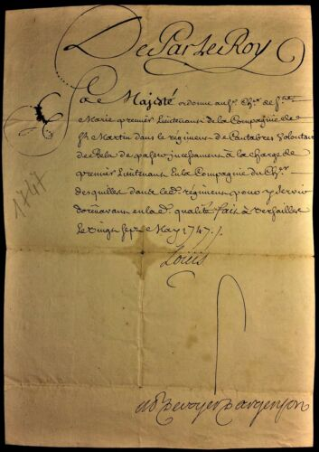 KING LOUIS XV AUTOGRAPH ON MILITARY ORDER IN THE REGIMENT OF CANTABRIA - 1747