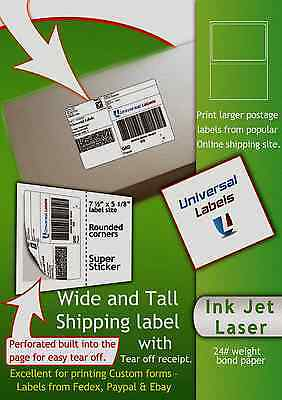 200 Xl Click Ship Labels With Tear Off Receipt - Fits All Online Postage - Usa