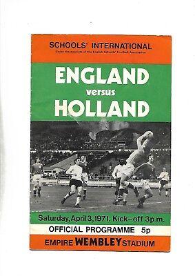 ENGLAND V HOLLAND 3/04/1971 SCHOOLS' INTERNATIONAL  (b)