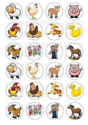 24 FARM ANIMAL ANIMALS  CUPCAKE TOPPER ICED  ICING EDIBLE FAIRY CAKE BUN TOPPERS