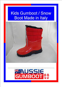 Childrens-Gumboots-Snow-Boots-Warm-Fleecy-Made-in-Italy-Wellies-Toddles-Kids