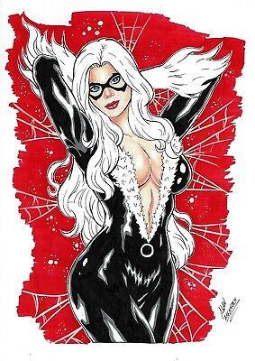 """Black Cat (09""""x12"""") original and unique 1/1 comic art by Alan Menezes"""