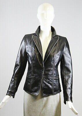 SYLVIE SCHIMMEL Paris Black Lamb Leather Distressed Trim Snap Blazer Jacket F 38