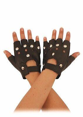 mit Nieten besetzt SCHWARZ LEDEROPTIK Fingerlose Handschuhe Kostüm Punk