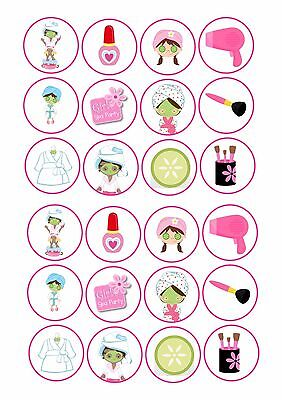24 icing cake toppers decorations fairy bun ND2 Pamper Spa party evening](Spa Party Cakes)