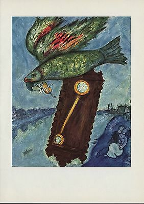 "1963 Vintage ""TIME IS A RIVER WITHOUT BANKS"" by MARC CHAGALL COLOR Lithograph"