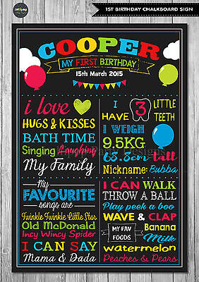 BOY 1ST FIRST BIRTHDAY CHALKBOARD SIGN BALLOONS BIRTHDAY PARTY PERSONALISED  (Birthday Chalkboard Sign)