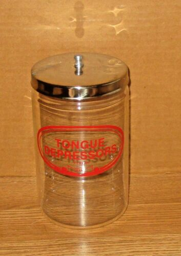 VINTAGE MEDICAL APHOTECARY  TONGUE DEPRRESSORSS GLASS CONTAINER / JAR