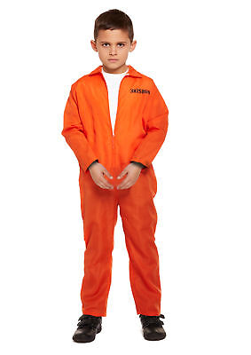 Child Orange Prisoner Overall Costume - 7-9 Years Fancy Dress Halloween Scary (Prisoner Costume Women)