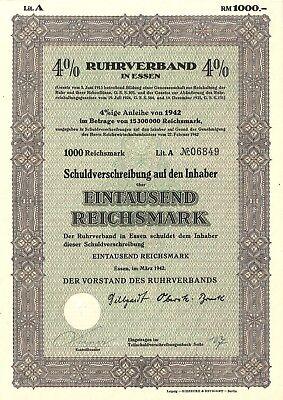 4 % Schuldverschreibung Ruhrverband in Essen 1000 RM 1942 Essen