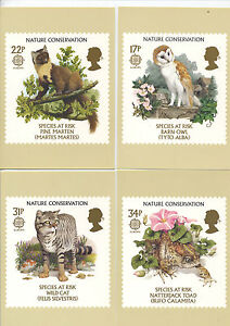 GREAT-BRITAIN-1986-NATURE-CONSERVATION-PHQ-CARDS-SET-OF-FOUR-MINT