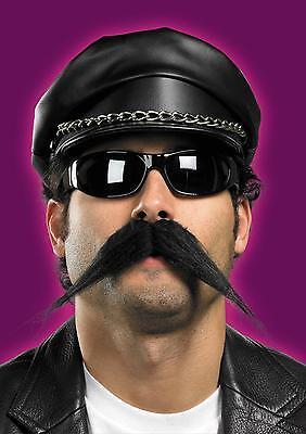 BIKER VILLAGE PEOPLE BUSHY BLACK MOUSTACHE MUSTACHE COSTUME FACIAL HAIR DG15027  - Black People Costumes