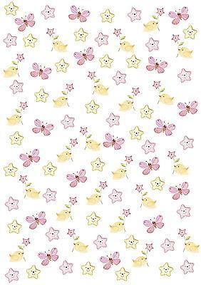 Artoz-Crea Motions-Designkarton-265-selbstklebend-Baby - Stern -rosa / gelb
