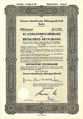 Dürener Metallwerke AG Berlin 4 % Schuldverschreibung 1000 RM 1943