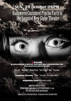 Halloween Costumed Psycho Party in the Haunted New Globe Theatre