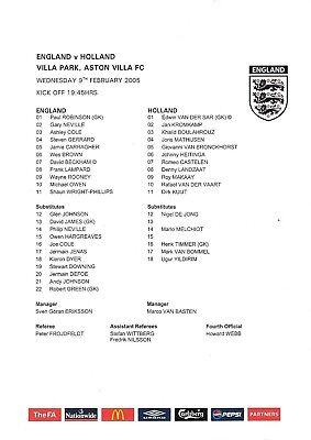 Teamsheet - England v Holland 09.02.05 @ Villa Park