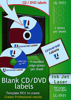 50 Cd Or Dvd Labels - 2 Labels 4 Spines Per Sheet - Made In The Usa