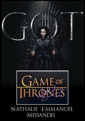 Game of Thrones Nathalie Emmanuel Signed A3 Photo Mount Display AFTAL & UACC COA
