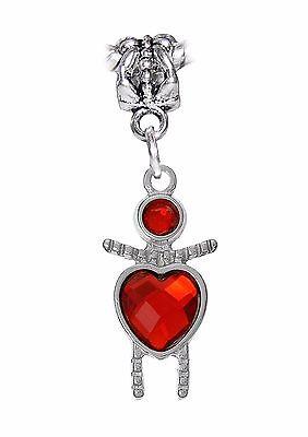 Little Girl Birthstone Charm - July Birthstone Little Girl Baby Heart Dangle Bead Gift for Euro Charm Bracelets
