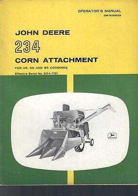 John Deere Operators Manual 234 Corn Attachment For 45 55 95 Combines